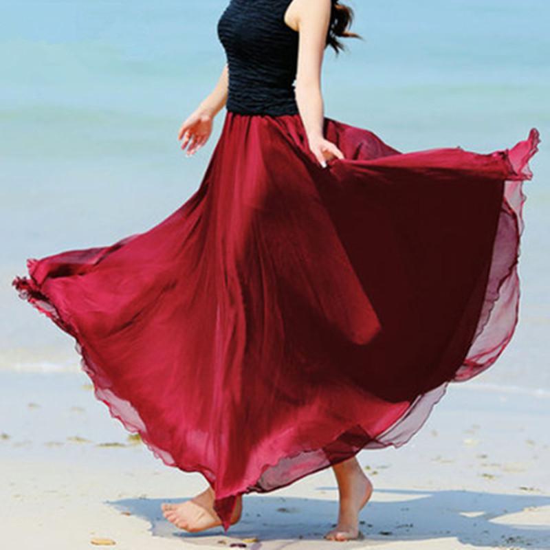 海边拖地长裙仙女8米大摆裙沙滩度假显瘦夏季金丝雪纺半