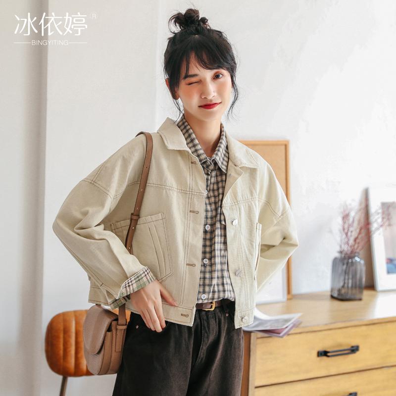 韩版短款复古港风工装夹克学生