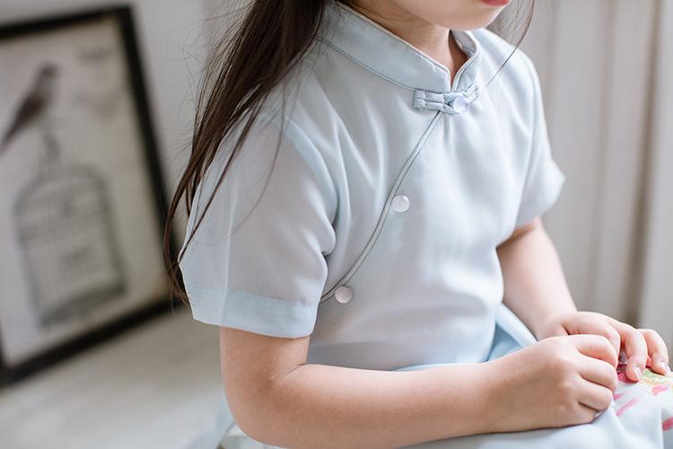 儿童汉服亲子装女童复古雪纺旗袍民族风荷花连衣裙宝宝中长款裙子