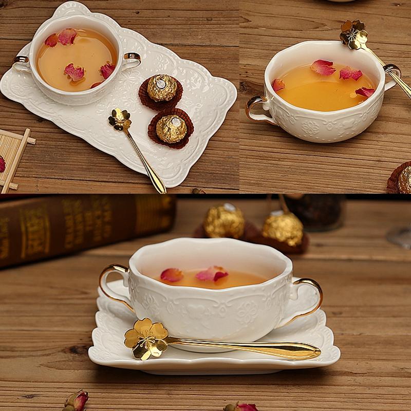 歐式金蝴蝶浮雕花朵雙耳碗粉紅甜品糖水碗麥片牛奶湯盅早餐燕窩碗