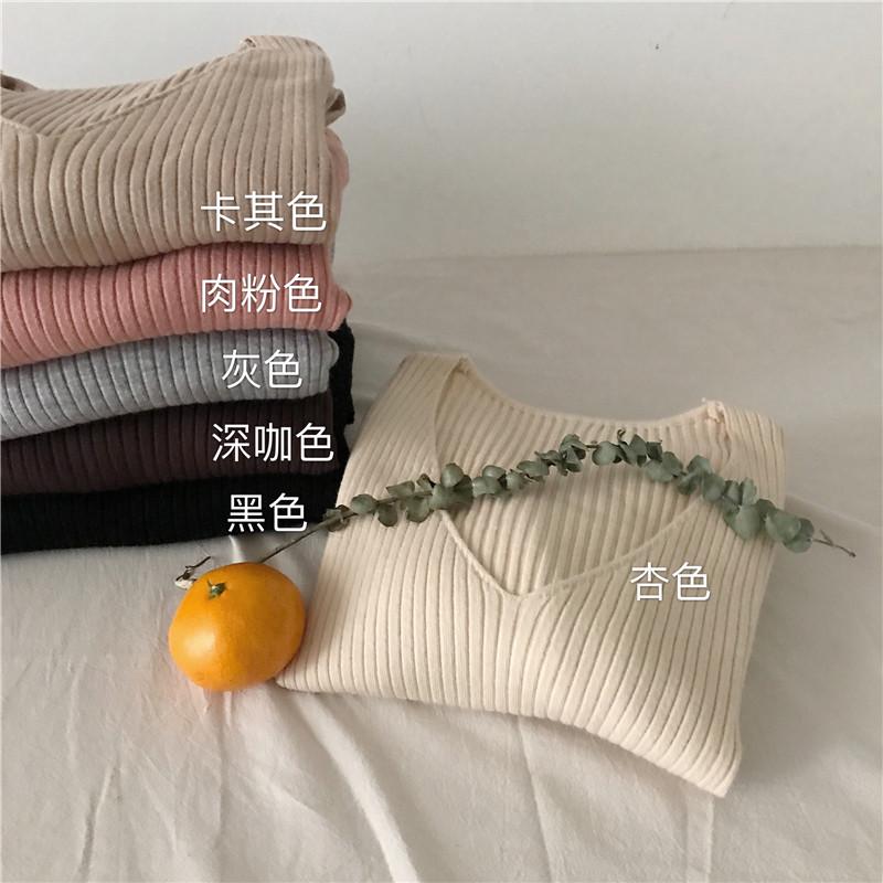 复古韩风chic修身弹力V领长袖套头显瘦打底针织衫百搭坑条上衣女
