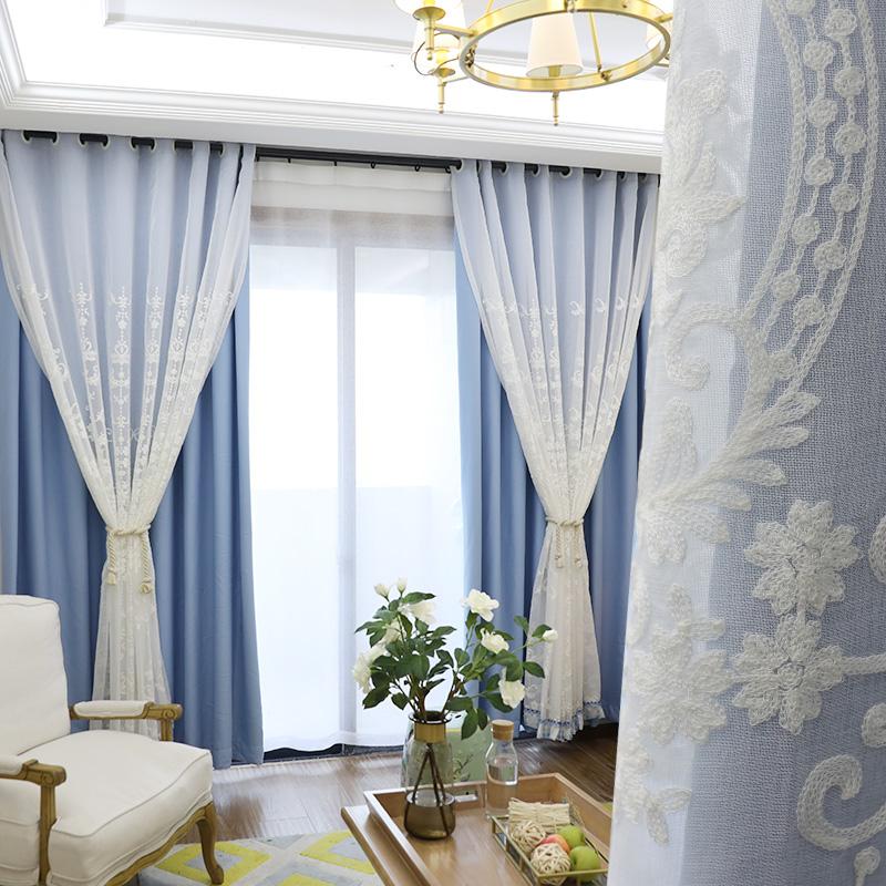 飘窗窗帘窗纱欧式简约现代小短全遮光布双层凸窗卧室客厅阳台成品