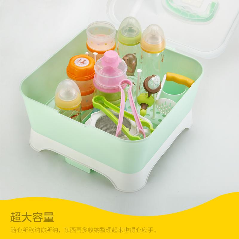 宝宝奶瓶收纳箱干燥架翻盖防尘收纳盒婴儿餐具储物盒奶粉盒奶瓶架