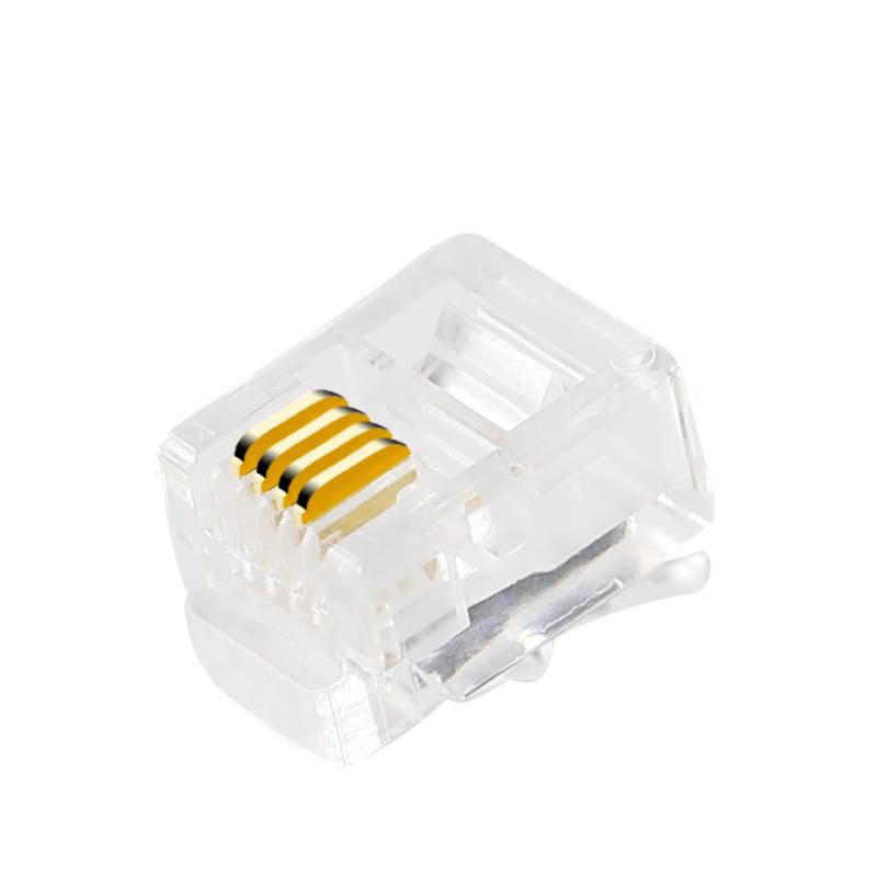 德爵 高品质RJ11 4芯电话水晶头6P4C四芯电话线水晶头 100颗 包邮