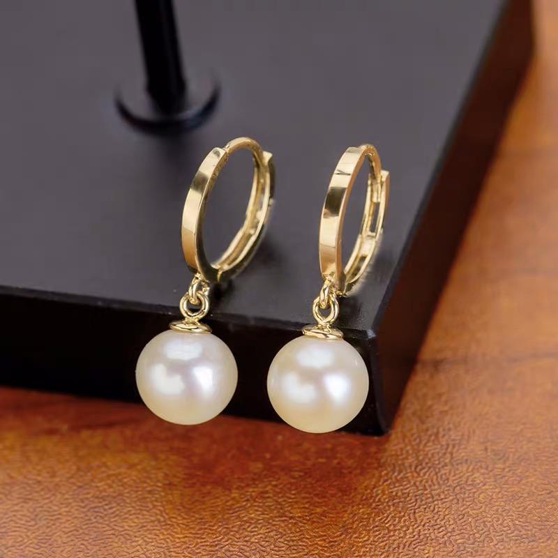 淡水真珍珠耳环耳钉耳圈耳扣大颗粒10-11-12MM正圆正品强