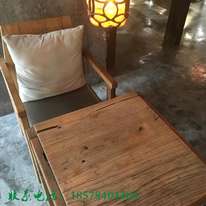 漫咖啡桌椅咖啡厅胡桃里音乐餐吧奶茶店老榆木二人桌实木桌椅组合