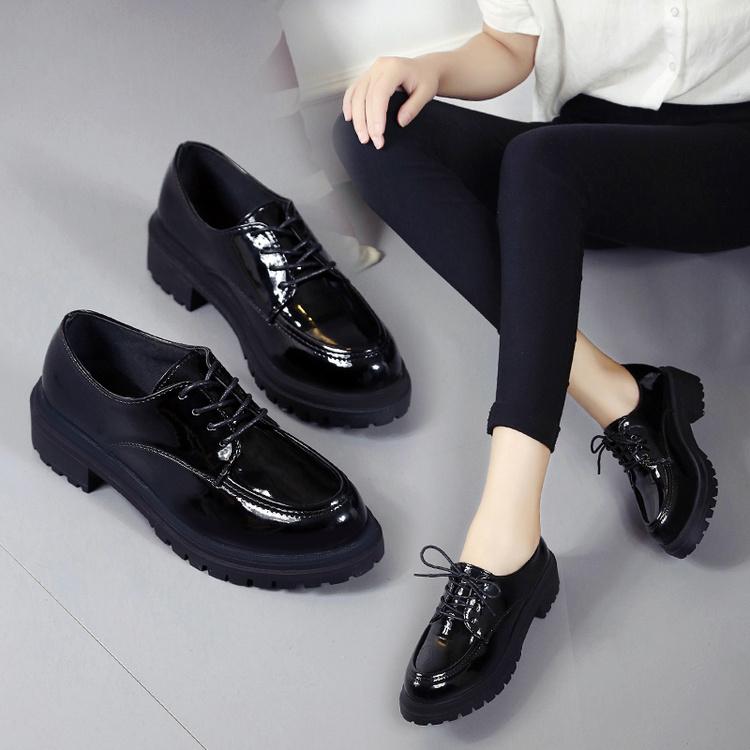 春秋新款复古深口圆头粗跟英伦风女鞋布洛克女中跟单鞋漆皮小皮鞋