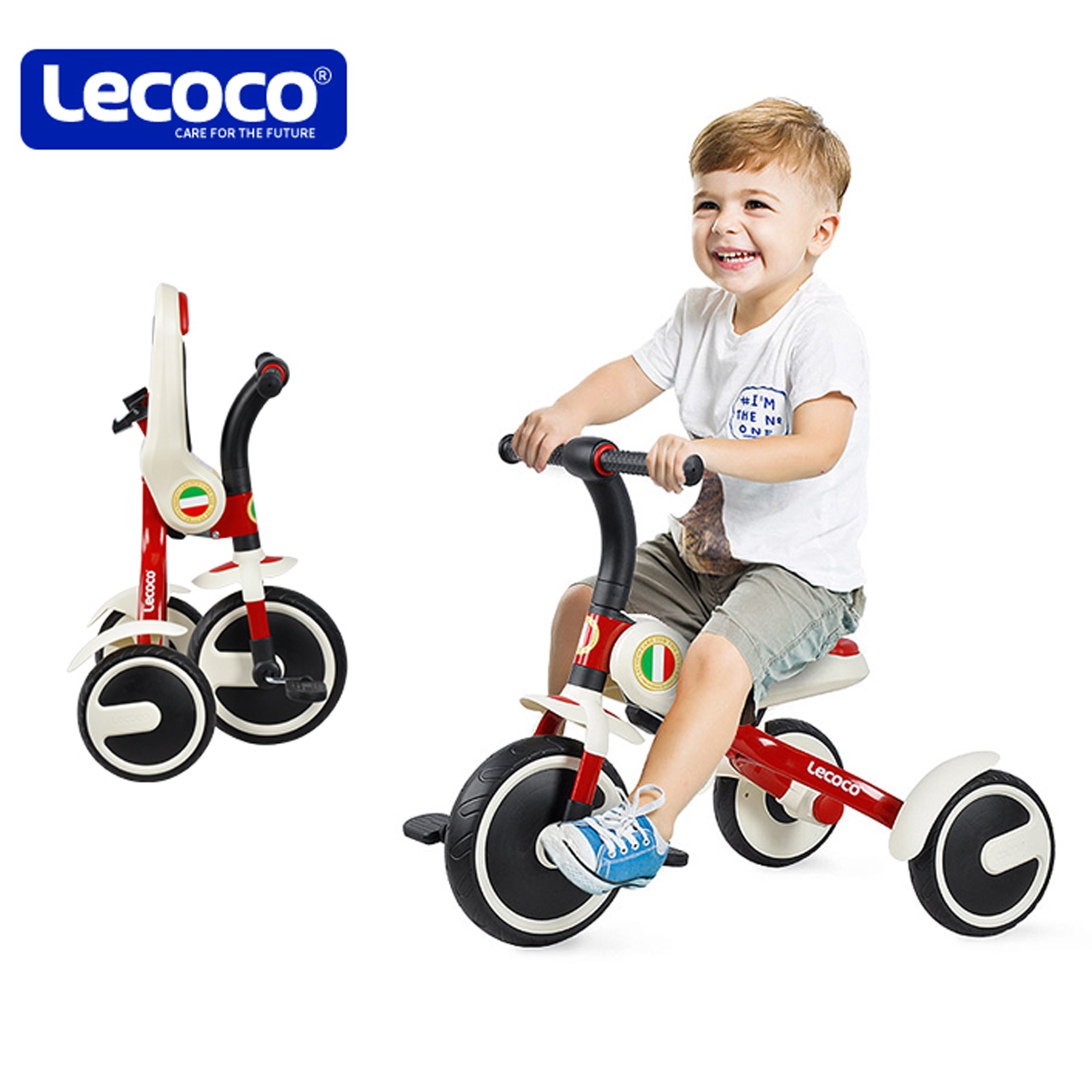 lecoco乐卡儿童三轮车2-3-5-6岁宝宝可折叠幼儿脚踏车便携自行车