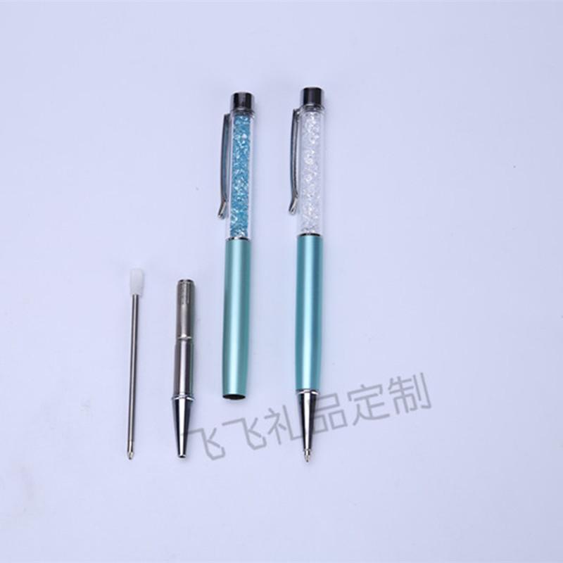 厂家平顶水晶笔 碎钻圆珠笔 钻石笔金属广告刻字定制LOGO节日礼品