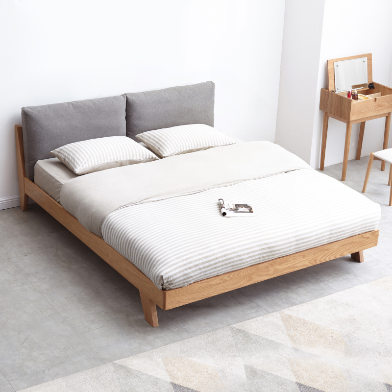 3日10点,北美FAS级橡木,内收床腿防磕碰:源氏木语 纯实木布艺双人床 B3781