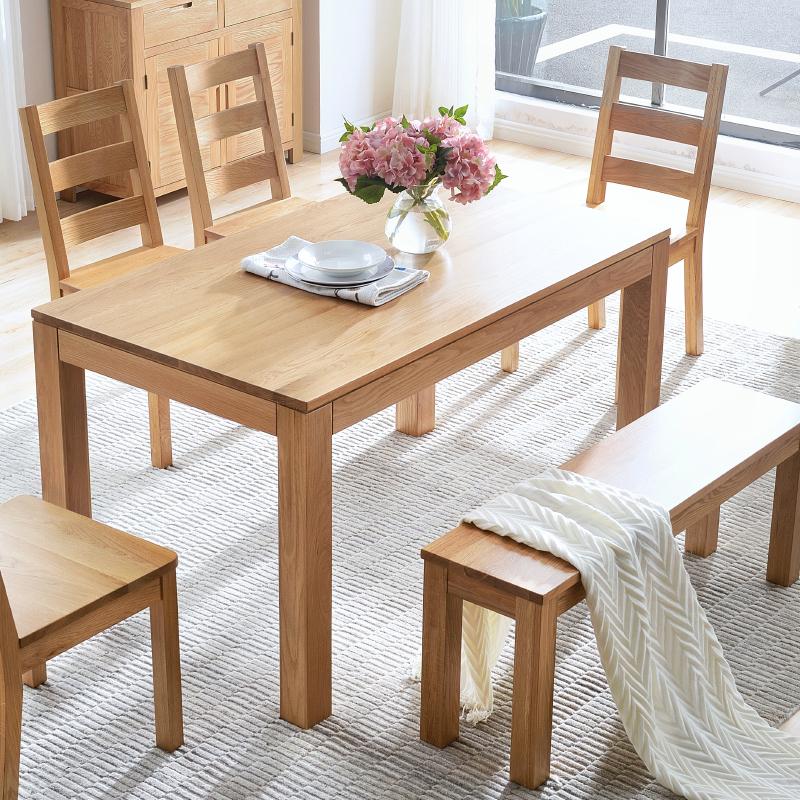 源氏木语纯实木餐桌全橡木餐台环保饭桌餐桌椅组合欧式餐厅家具