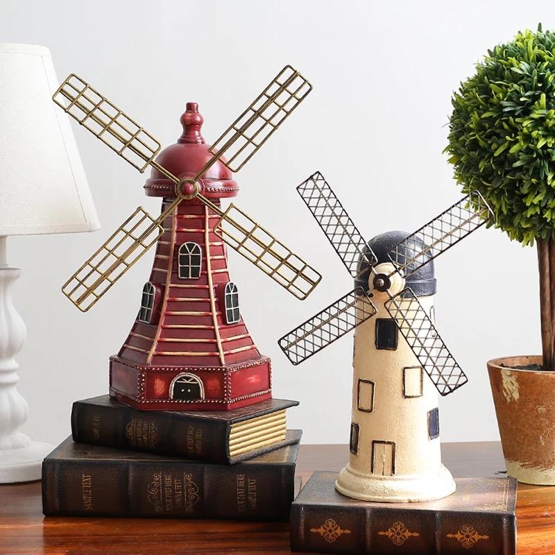 歐式經典復古荷蘭風車工藝模型擺件酒吧咖啡廳店面裝飾品創意擺設
