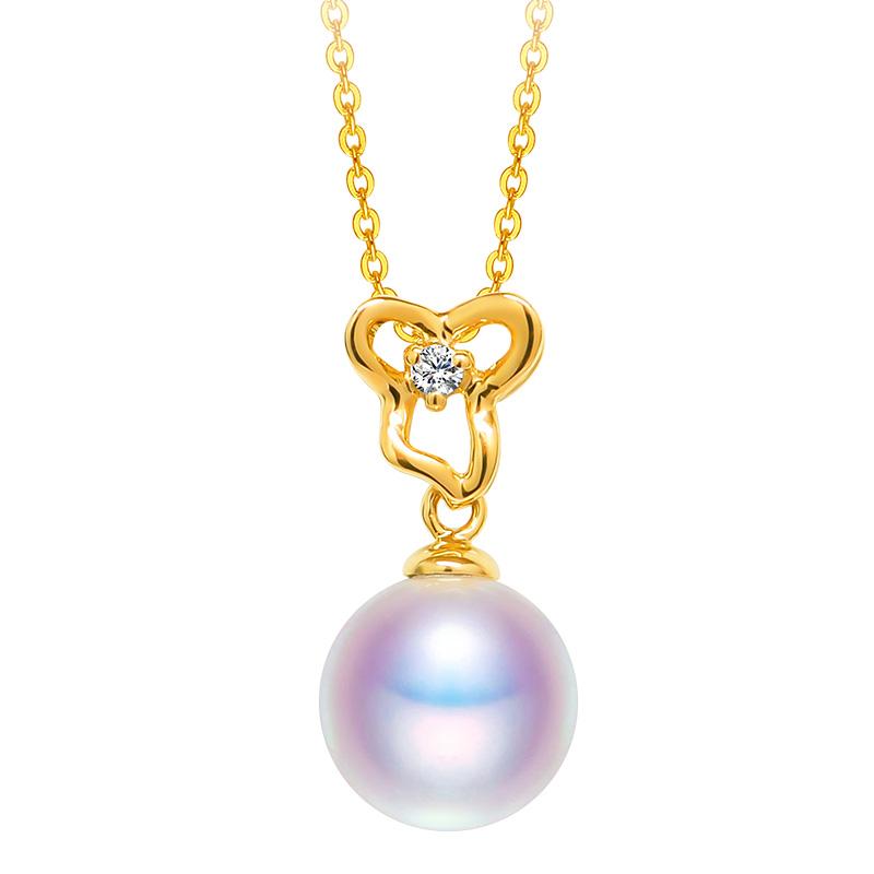 恒兴珠宝 钻石款18K金天然海水日本akoya珍珠吊坠项链单颗锁骨女 - 图3