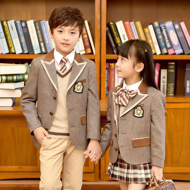 幼儿园园服西装校服外套新款羊毛男女童装英伦学院风中小学生班服