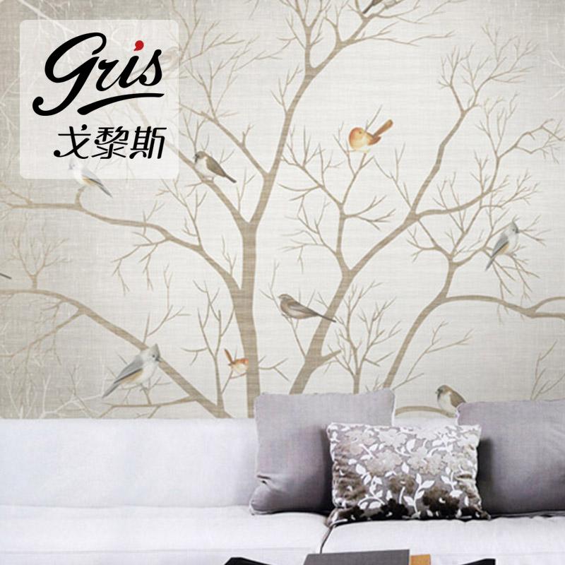 树梢飞鸟中国风客厅电视背景墙中式墙纸壁纸大型定制壁画无缝壁布