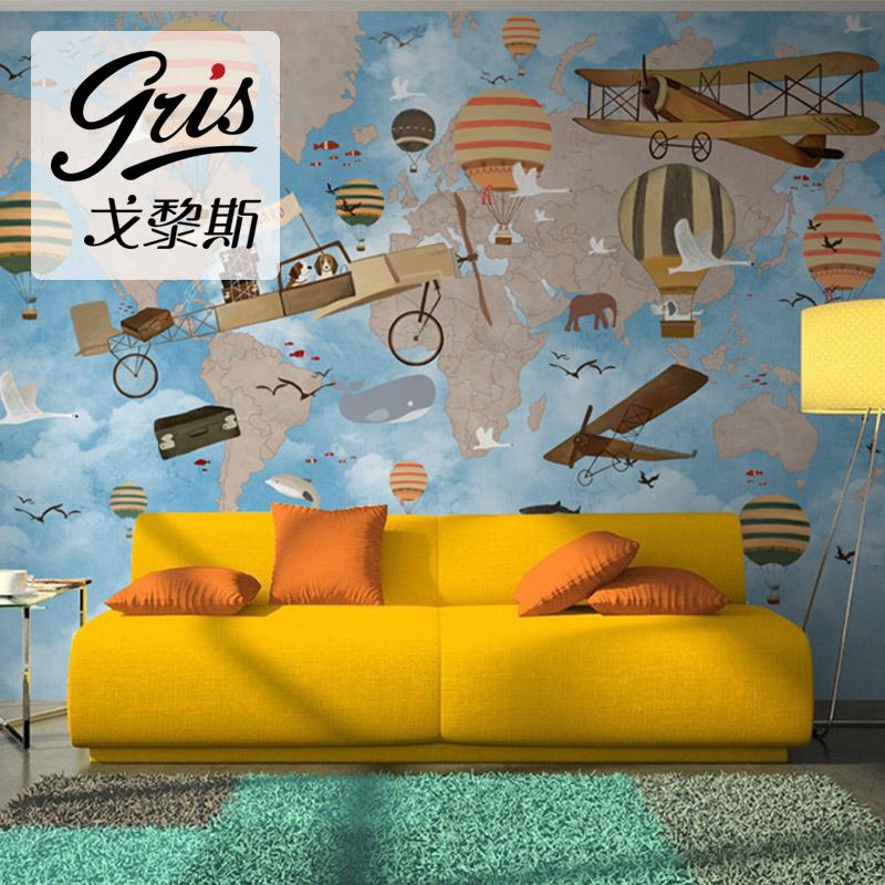 环游世界儿童房壁纸男孩卧室背景墙美式个性墙纸大型壁画无缝墙布