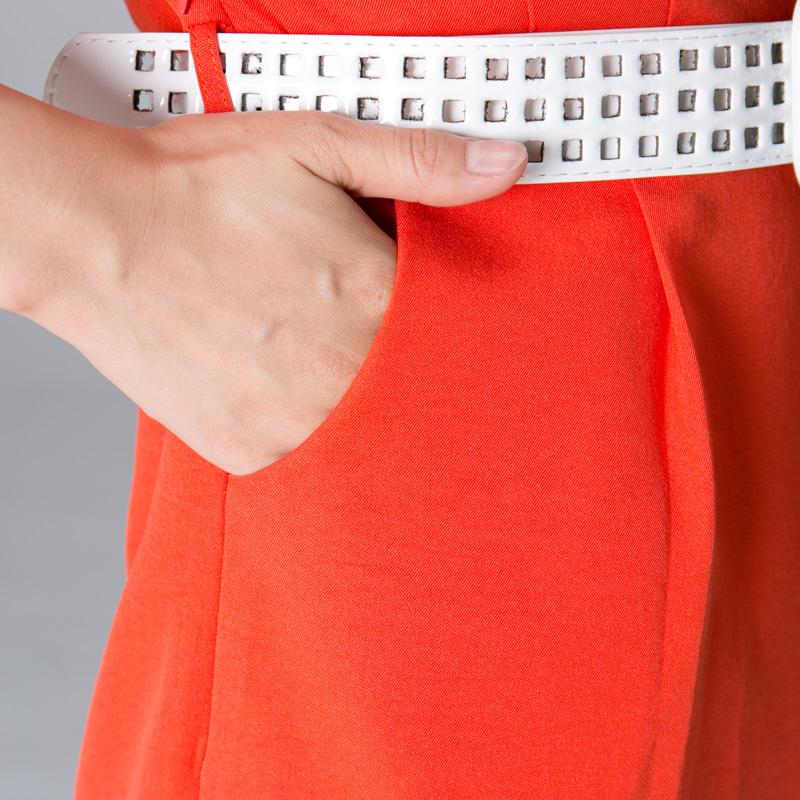 逸朗轩夏装新款女装圆领短袖通勤气质腰带修身开叉连衣裙女中长款