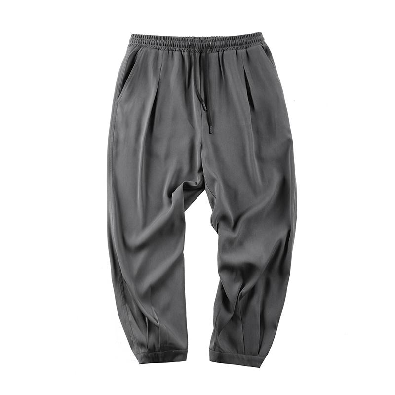 夏季轻薄新款宽松哈伦小脚直筒休闲九分裤男 Dacron  GWIT 垂顺后整
