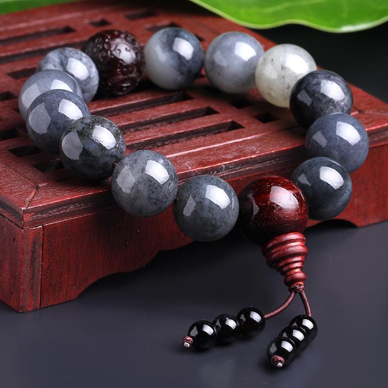 7000年和田玉手串男女青花玉福在眼前手串正品天然紫檀木佩玉手链