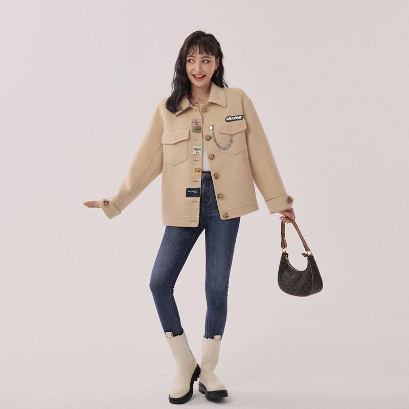 Y20Y01281 经典休闲款毛呢外套长短款双面呢大衣 徽章款