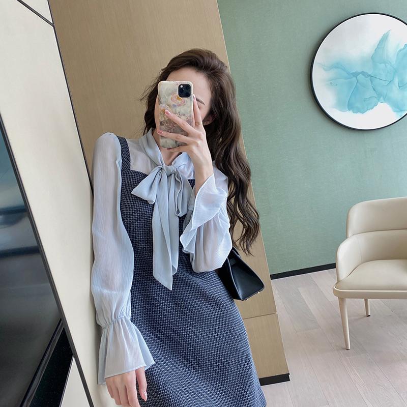 裙+系带衬衫两件套装