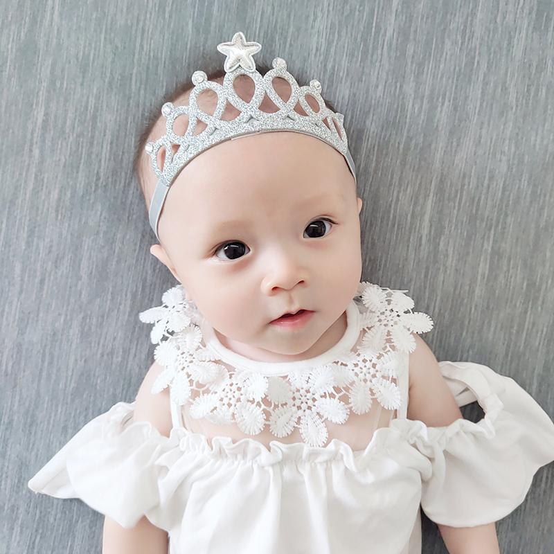 韓國韓版兒童髮飾閃亮皇冠五角星鑽石嬰兒髮帶女寶寶公主拍照頭飾