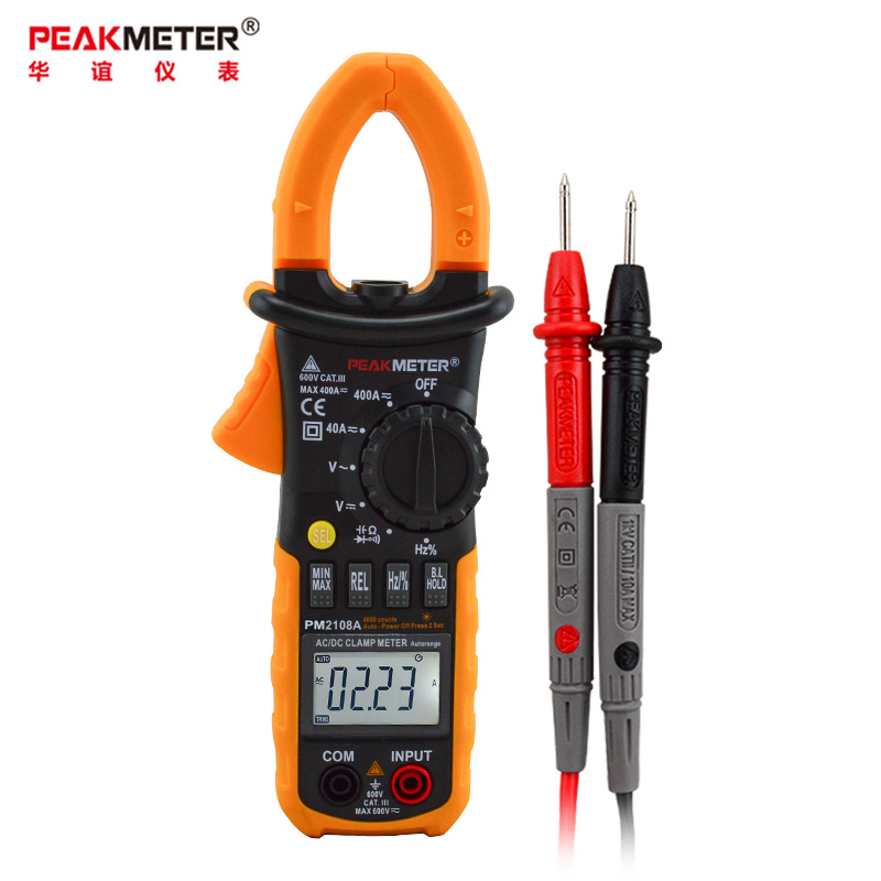 华谊PM2108A高精度钳形表数字万用表交直流电流表400A600A钳流表