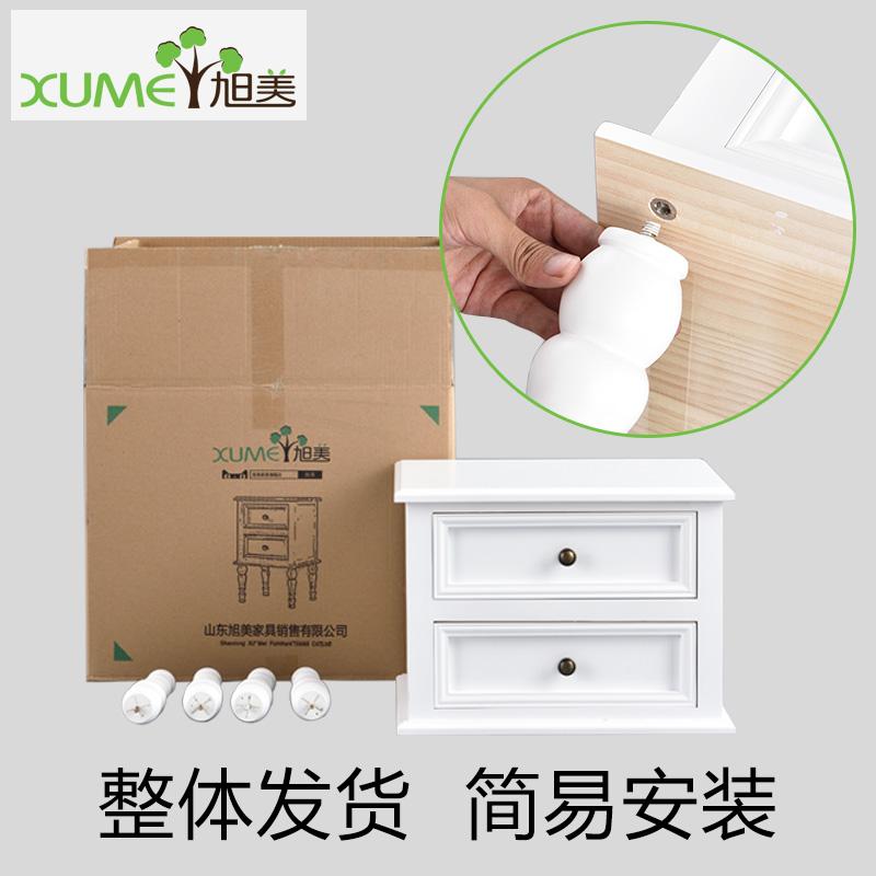 实木床头柜简约储物柜美式儿童柜小型收纳柜窄柜子白色松木边几