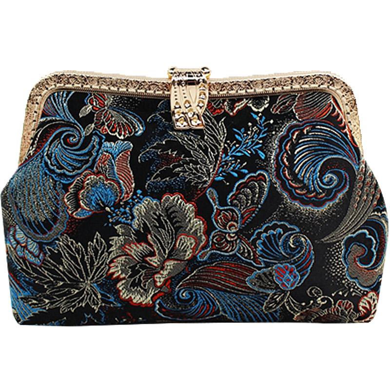 手工DIY材料包-20cmM型锦缎扣式口金包手拿包 含120cm细链 多款入