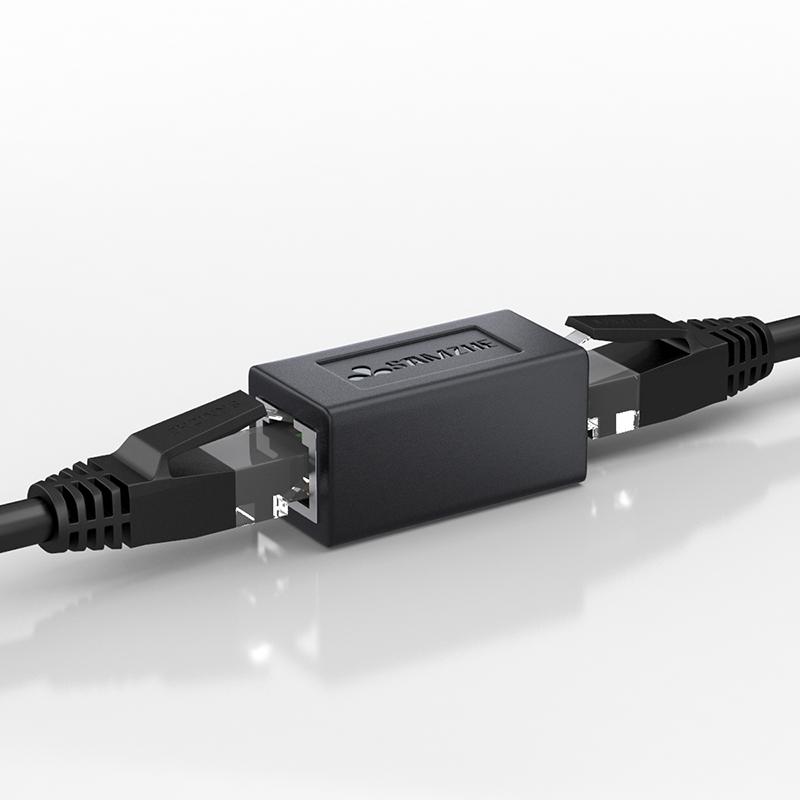 山泽 网线对接头RJ45网络直通头网线延长连接器双通头防雷款可选