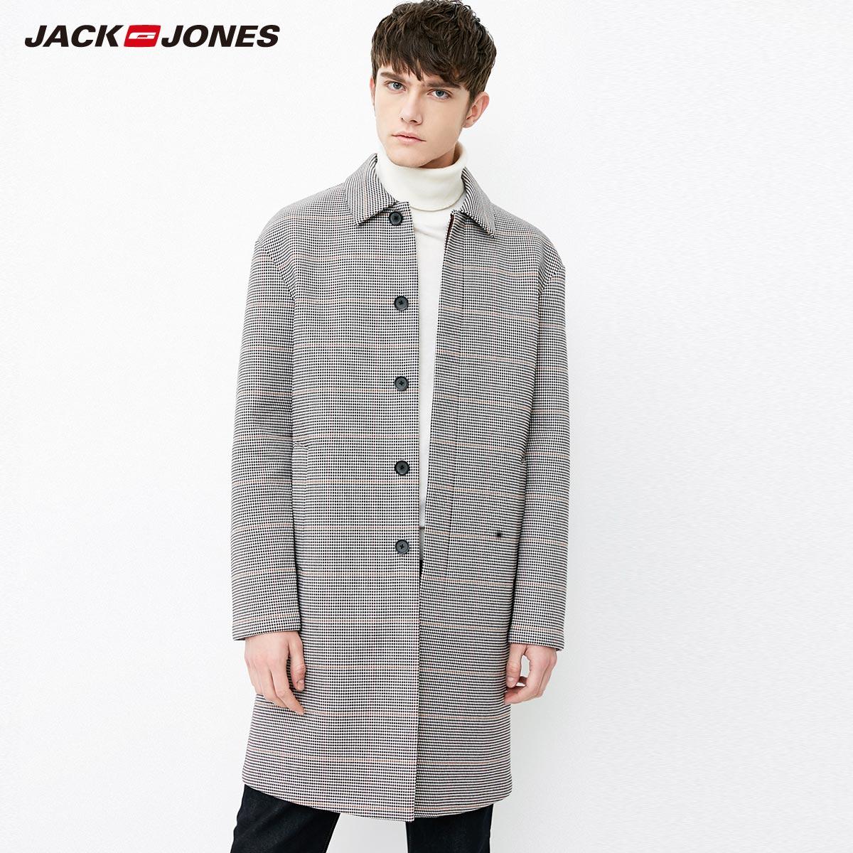 218121532 杰克琼斯男士春夏新装男中长款风衣外套 JackJones