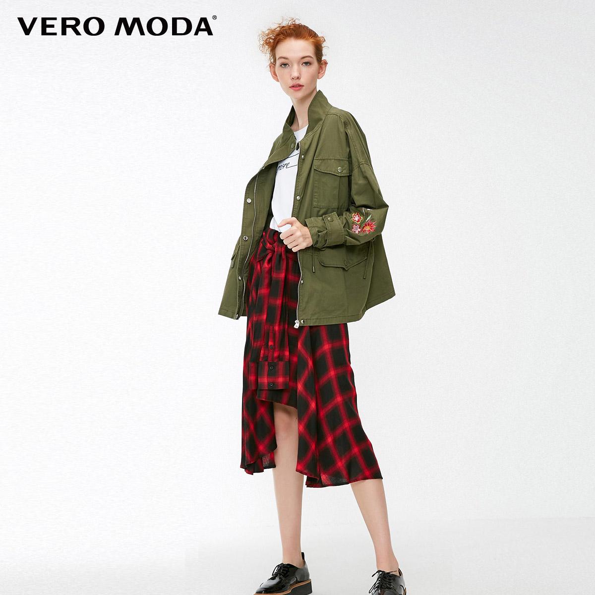 Moda  318321538 秋季花卉抽绳显瘦拉链宽松夹克外套女 绫致 Vero