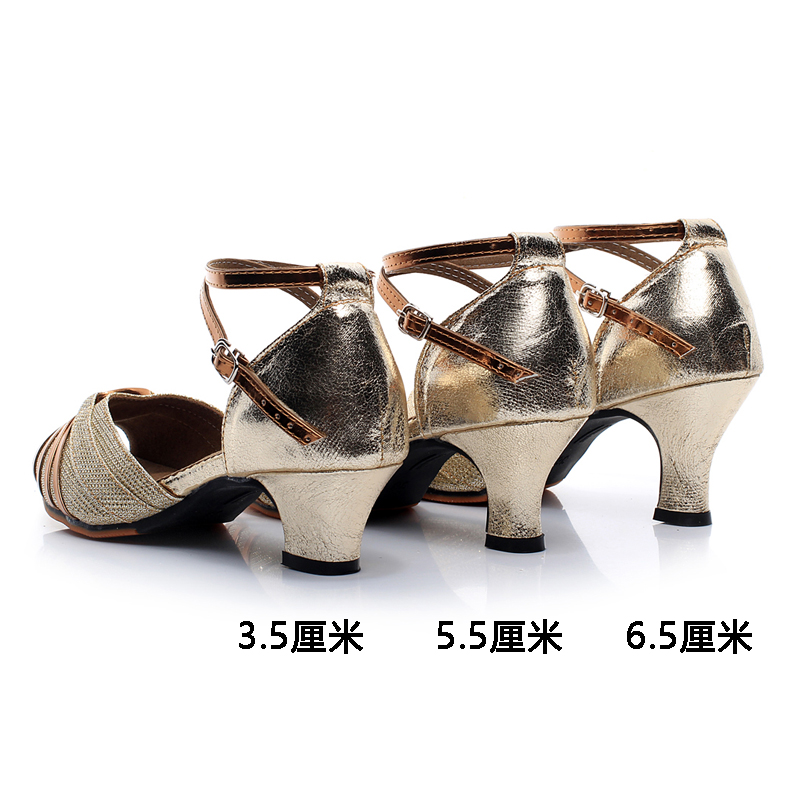 四季拉丁舞鞋女成人中高跟新舞蹈鞋软底广场交谊跳舞女鞋儿童凉鞋