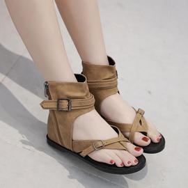 复古高帮坡跟平底夹趾女凉鞋夏季休闲内增高女鞋罗马皮带扣拉链鞋