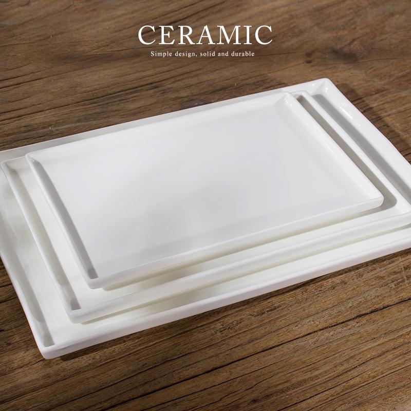 純白陶瓷托盤長方形果盤茶盤蛋糕盤甜品盤甜品擺盤平盤菜盤面包盤