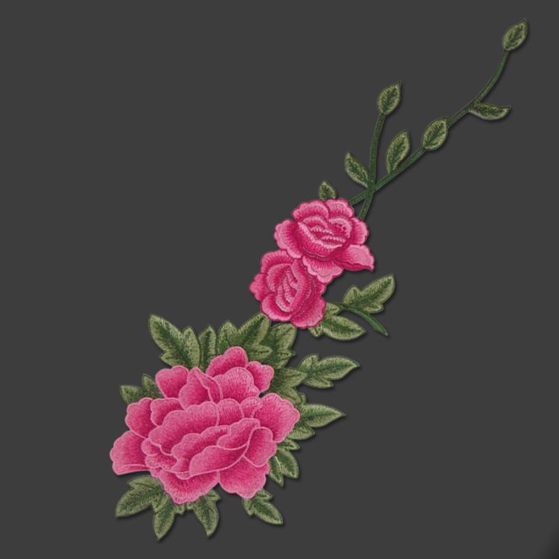 牡丹花朵民族風重工刺繡花片 藤蔓DIY裝飾貼花布貼衣服補丁貼大號