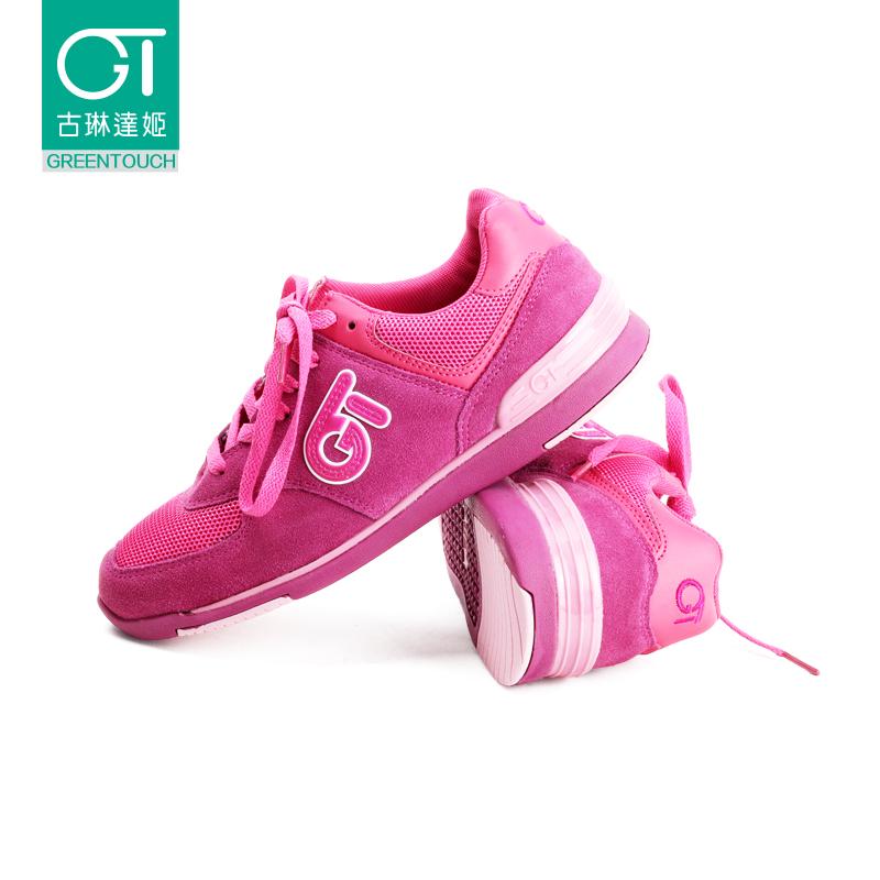 古琳达姬秋季简约网面学生单鞋透气轻便运动型跑步红女鞋