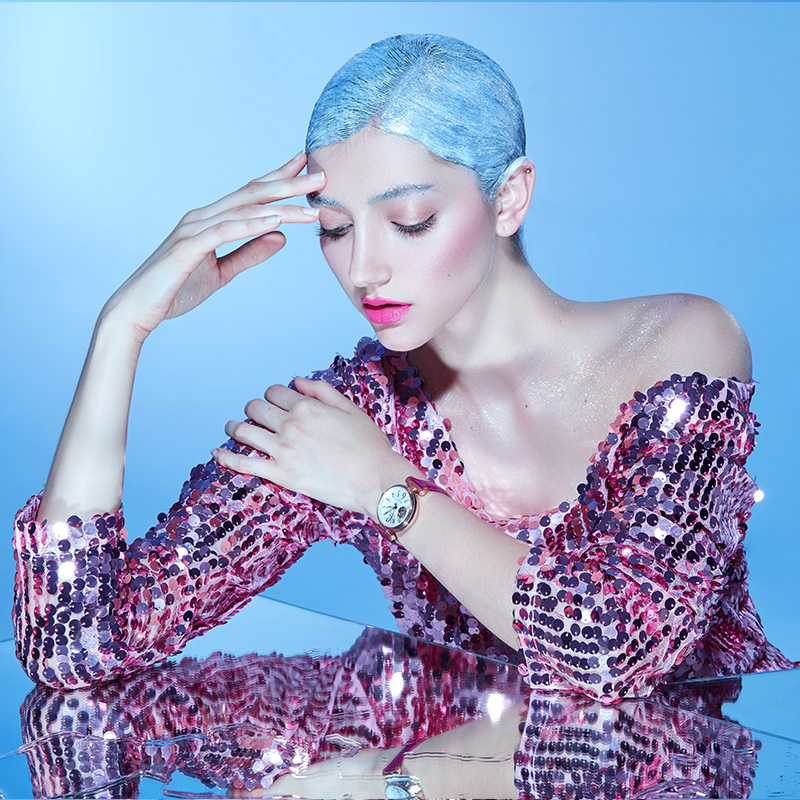 天王表镂空时尚机械表大表盘女表正品女士皮带手表5935