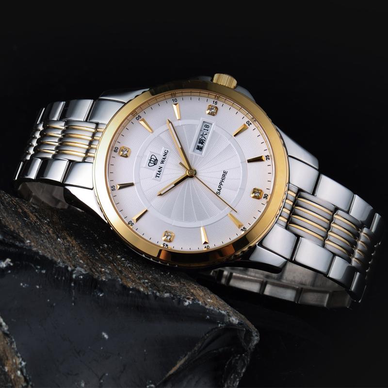 天王表正品 男表钢带男士品牌手表 商务休闲日历石英表3731