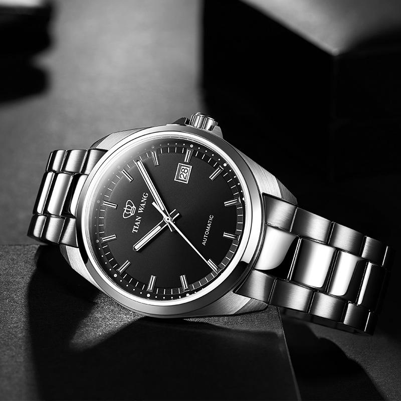 天王表男表商务休闲自动机械表钢带男士腕表手表