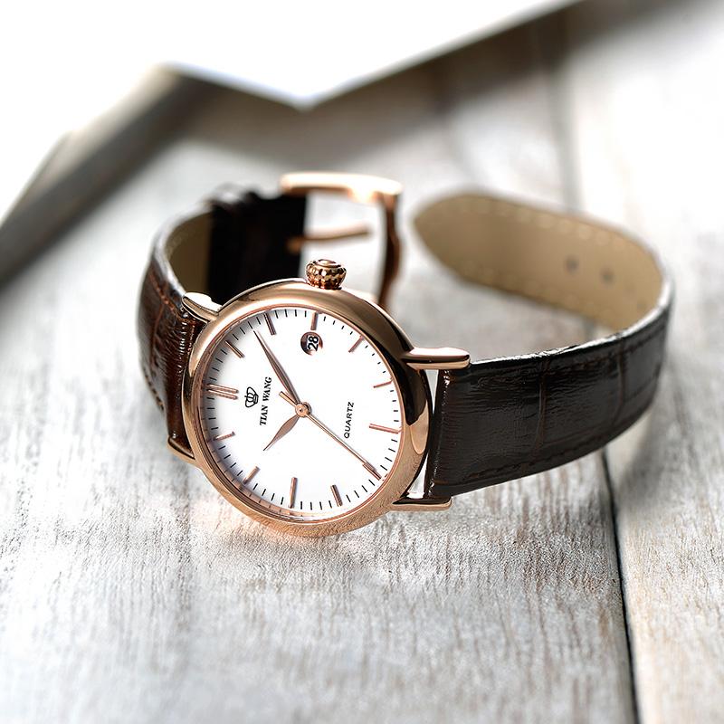3874 天王表正品时尚潮流情侣表男士皮带手表简约休闲石英女表对表