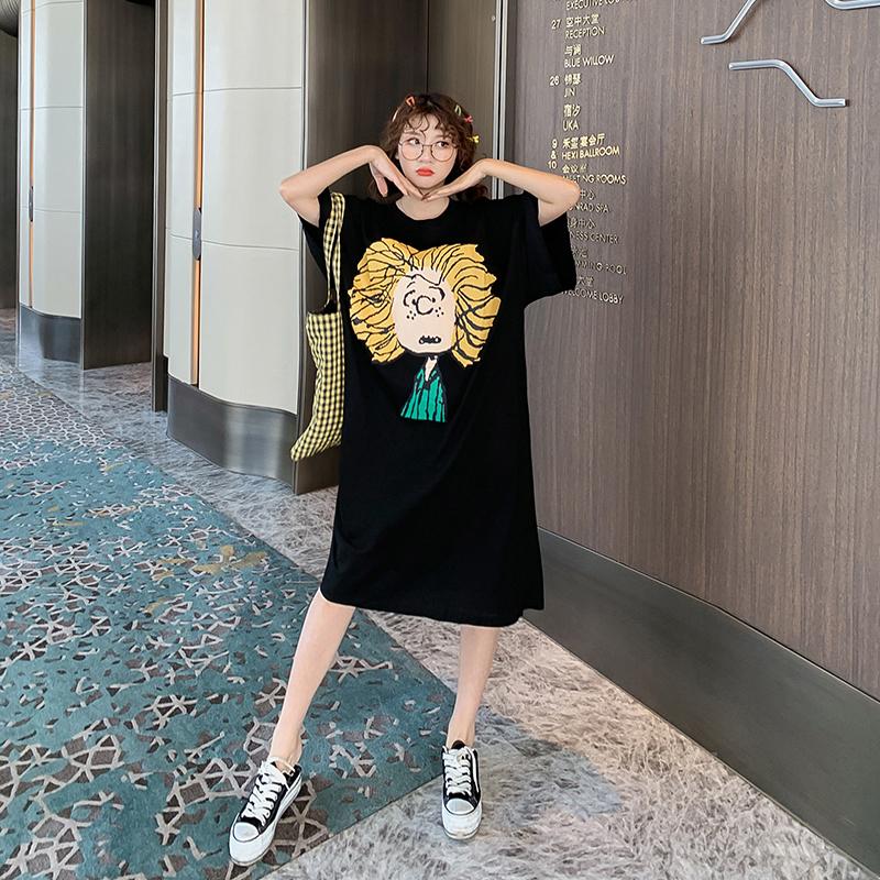 胖mm韩版中长款连衣裙女加肥加大码200斤宽松个性卡通夏季短袖t恤