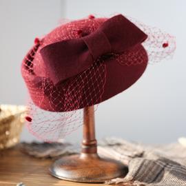 诗丹凯萨礼帽女秋冬法式复古帽网纱贝雷帽女羊毛英伦名媛空姐帽子