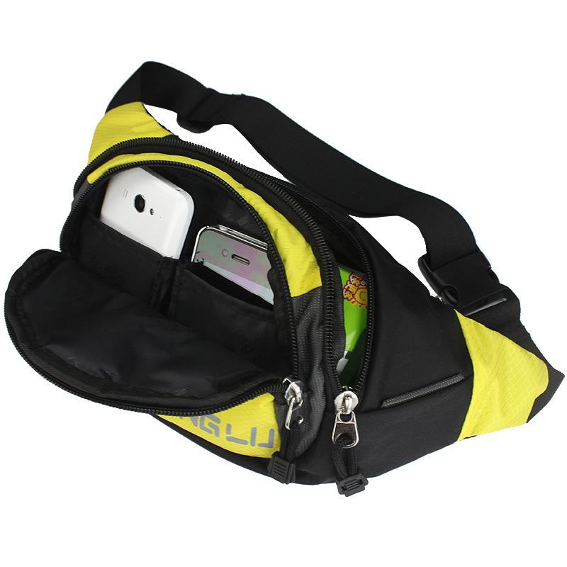 名鹿跑步腰包女士户外防水帆布骑行韩版潮小胸包手机运动斜跨包包
