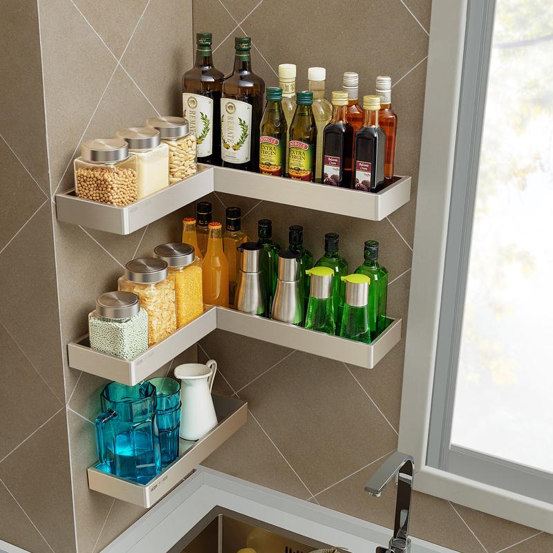 不锈钢调味料置物架厨房神器免打孔壁挂调料架收纳架用品家用大全