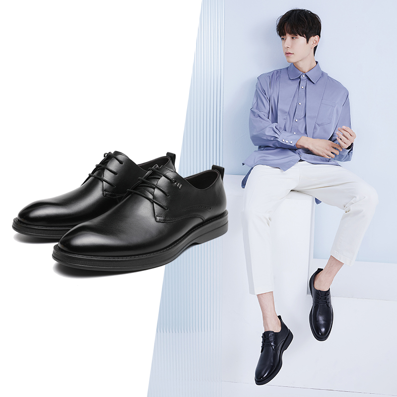 【红蜻蜓】真皮商务正装英伦风皮鞋
