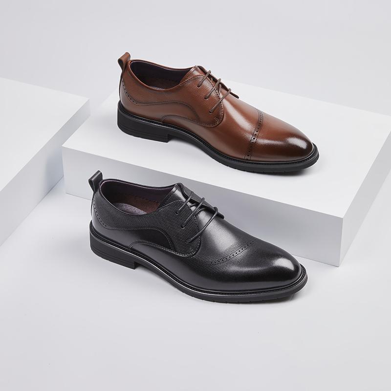 红蜻蜓男鞋2021年夏季新款商务正装真皮鞋男英伦风镂空系带德比鞋
