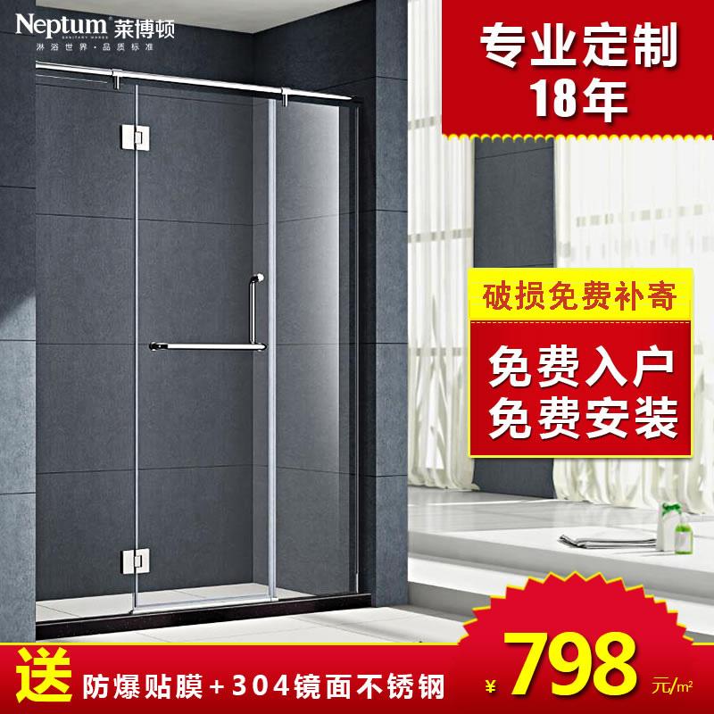 304不锈钢 浴室门卫生间淋浴房平开门 隔断玻璃门 一字形 干湿