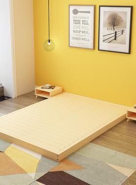 实木床现代简约1.8米双人床1.5m出租房1.2榻榻米简易经济型单人床