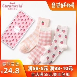 CARAMELLA潮流可爱图案防臭加厚棉袜子女ins潮秋冬中长筒刺绣袜子